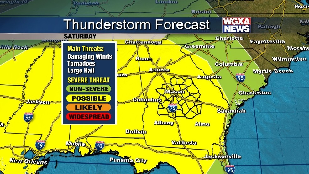 Potential of severe storms in weekend forecast   WGXA
