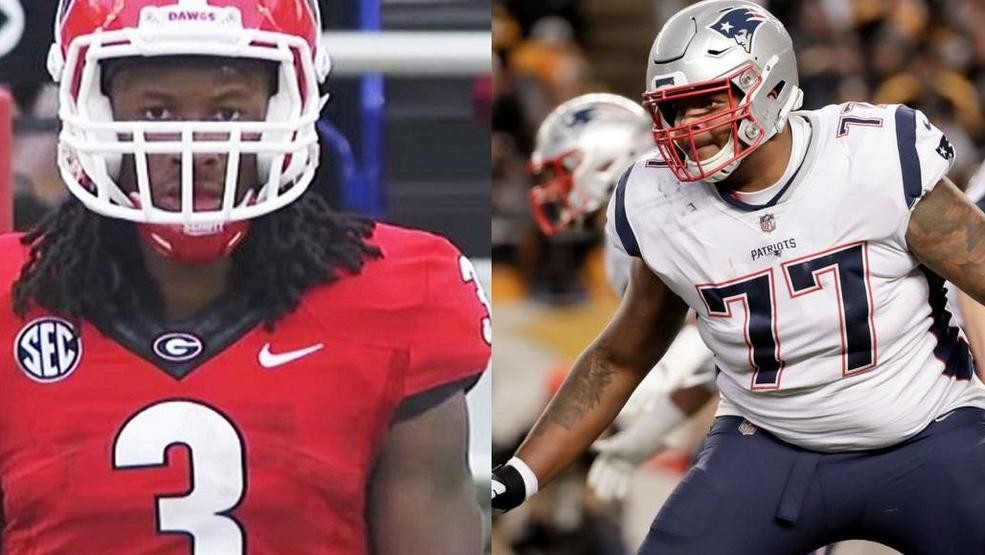 b8e504d9e Rams running back Todd Gurley played three season at the University of  Georgia and Patriots tackle Trent Brown spent two years at Georgia Military  ...